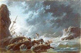 Jean-Baptiste Pillement: Seesturm mit Schiffswrack