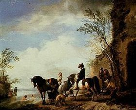Philips Wouwerman: Reiter am Fluss-Ufer