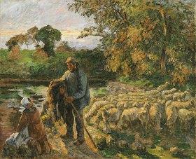 Camille Pissarro: Bei Sonnenuntergang heimkehrender Schäfer in Montfoucault