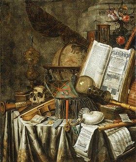 Evert Collier: Vanitas-Stilleben mit Musikinstrumenten, astrologischem Globus und anderen Stücken