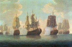 William Elliott: Seeschlacht zwischen englischen und französischen Schiffen