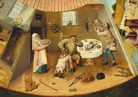 Hieronymus Bosch: Die sieben Todsünden und die vier letzten Dinge. Tischplatte. Detail: Das Prassen