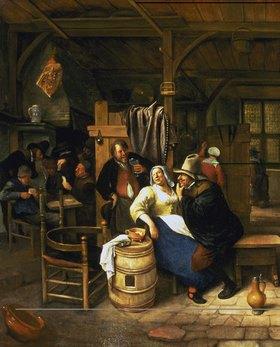 Jan Steen: Der alte Verehrer. Bauernwirtschaft mit kartenspielenden Bauern im Hintergrund