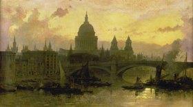 David Roberts: Abend über London, Blick über die Themse auf St.Pauls Cathedral