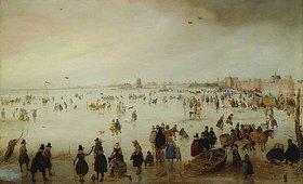 Hendrick Avercamp: Lebhaftes Treiben auf einer Eisfläche