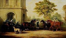 John Frederick Herring d.Ä.: Lady Williams-Wynn's Pferde und eine Kutsche vor Schloss Wynnstay