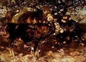 Heinrich von Zügel: Bauern mit Kühen im Schatten eines Baumes