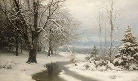 Anders Andersen-Lundby: Winterlandschaft mit Bach und See
