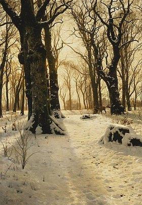 Peder Moensted: Winterwald mit Reh