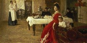 Ilja Efimowitsch Repin: Tatiana, die Tochter des Künstlers, mit ihrer Familie in einem Innenra