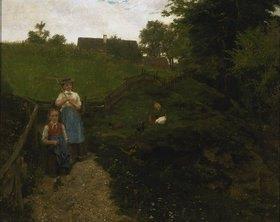 Johann Sperl: Von der Feldarbeit heimkehrende Bäuerin mit Kind