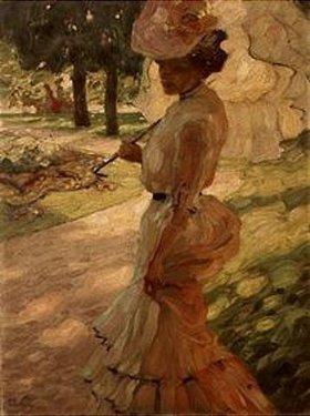Leo Putz: Dame mit Sonnenschirm beim Spaziergang