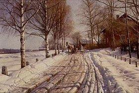 Peder Moensted: Winterliche Landstrasse in Leksand (Dalarne)