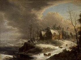 Johann Christian Vollerdt: Winterlandschaft mit einem Dörfchen über einem gefrorenen Fluss