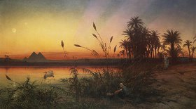 Frank Dillon: Blick von der Insel Roda zu den Pyramiden von Gizeh bei Sonnenuntergang