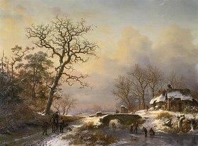 Frederik Marianus Kruseman: Winterlandschaft, Weg mit Reiter und Schlittschuhläufer auf einem Fluss