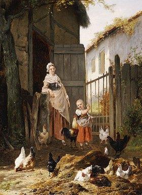 Eugene Remy Maes: Beim Hühnerfüttern. (Zusammen mit Jan David Col, 1822-1900)