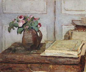 Edouard Vuillard: Stilleben mit dem Malkoffer des Künstlers und einer Vase mit Moosrosen