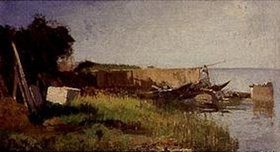 Heinric Deuchert: Kahn mit Netzen am Ostufer der Fraueninsel (Chiemsee)