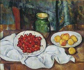 Paul Cézanne: Stilleben mit Kirschen und Pfirsichen