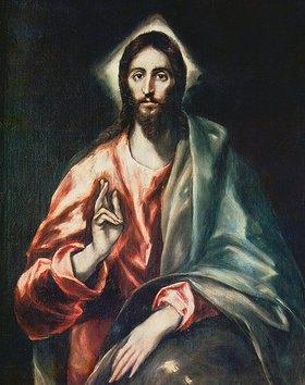Greco El (Dominikos Theotokopoulos): Christus der Erlöser. Um 1602. Apostolado-Tafel