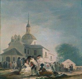 Francisco José de Goya: Die Einsiedelei des hl.Isidor. 1788/89. Skizze zu einem nicht ausgeführten Gemälde