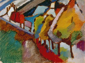 Wassily Kandinsky: Murnau - Schloß und Kirche, Herbst 1909 (Auch Naturstudie aus Murnau gen.)