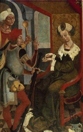 Veit Stoß: Gailana dingt den Kastellan und den Koch für die Ermordung des hl.Kilian (Detail)
