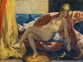 Eugene Delacroix: Nackte Frau, einen Papagei streichelnd
