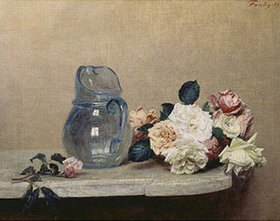 Henri de Fantin-Latour: Glasvase und Rosen