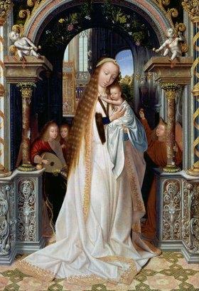 Quinten Massys: Die Jungfrau mit dem Kind und drei Engeln