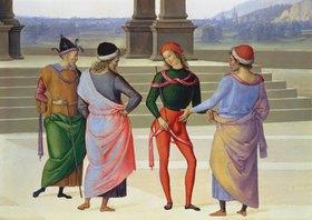 Perugino (Pietro Vanucci): Detail aus: Die mystische Vermählung der heiligen Jungfrau: Vier Männer