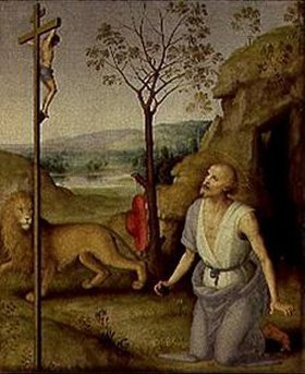 Perugino (Pietro Vanucci): Der hl.Hieronymus in der Wüste