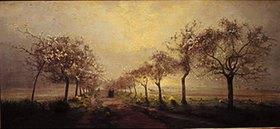 Antoine Chintreuil: Blühende Obstbäume im Morgennebel