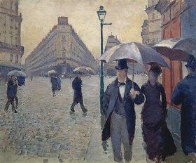 Gustave Caillebotte: Regentag in Paris, an der Kreuzung der Rue de Turin und Rue de Moskau. Skizze