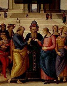 Perugino (Pietro Vanucci): Die mystische Vermählung der hl.Jungfrau (um 1500), Detail