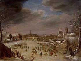 Jan Griffier d. Ä.: Eisvergnügen auf einem zugefrorenen Kanal