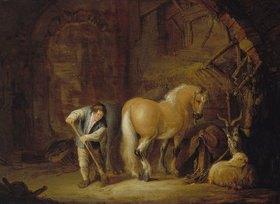Isack van Ostade: Stallansicht mit Knecht, Pferd, Schaf und Ziegenbock