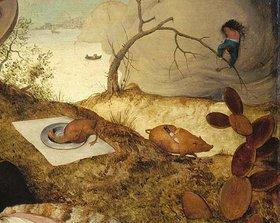 Pieter Brueghel d.Ä.: Das Schlaraffenland. Detail: Laufendes Schwein mit Messer im Rücken