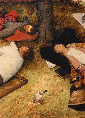 Pieter Brueghel d.Ä.: Das Schlaraffenland. Detail: Köpfe der drei Männer und laufendes Ei