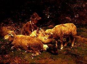 Heinrich von Zügel: Schafe mit Hirt