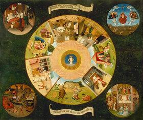 Hieronymus Bosch: Die sieben Haupt/Todsünden und die vier letzten Dinge. Tischplatte
