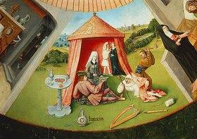 Hieronymus Bosch: Die sieben Haupt/Todsünden und die vier letzten Dinge. Tischplatte. Detail: Die