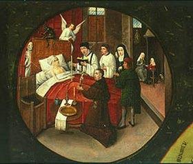 Hieronymus Bosch: Die sieben Haupt/Todsünden und die vier letzten Dinge. Tischplatte. Detail: Der