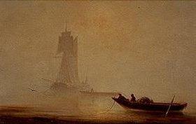 Iwan Konstantinovich Aiwassowskij: Fischerboot an der Küste in der Morgendämmerung