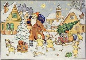 Anonym: Darstellung aus einem alten Adventskalender um 1920: Der hl.Nikolaus