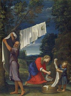 Lucio Massari: Die Heilige Familie beim Wäsche Waschen