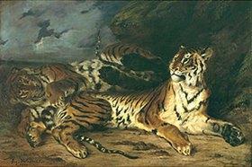 Eugene Delacroix: Tigerweibchen mit Jungen
