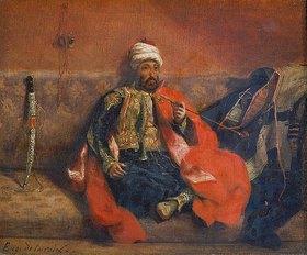 Eugene Delacroix: Rauchender Türke, auf einem Divan sitzend. Gegen