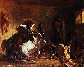 Eugene Delacroix: Kämpfende Araberpferde in einem Stall